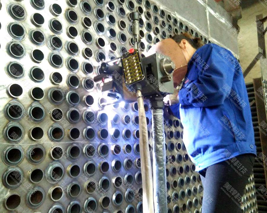 MWG series open pipe welding equipment is used in heat exchanger industry project
